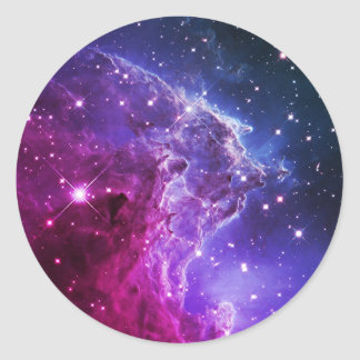 Hipster Purple Ombre Monkey Head Nebula Classic Round Sticker