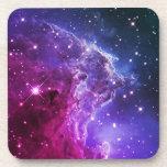 Hipster Purple Ombre Monkey Head Nebula Coaster