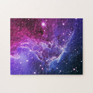 Hipster Purple Ombre Monkey Head Nebula Puzzle