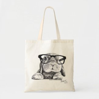 Eddie and Rambo Hipster Rambo Bunny Tote Canvas Bags