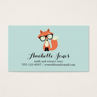 Hipster Red Fox Business Card