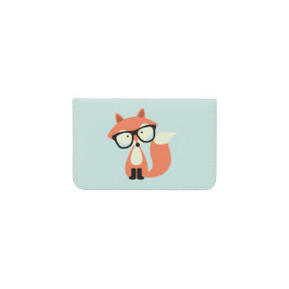 Hipster Red Fox Business Card Holder