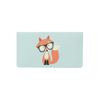 Hipster Red Fox Checkbook Cover