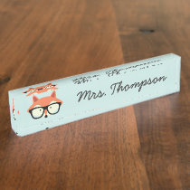 Hipster Red Fox Desk Name Plate