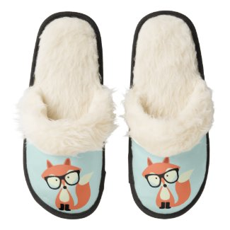 Hipster Red Fox Pair Of Fuzzy Slippers