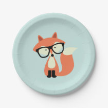 Hipster Red Fox Paper Plate