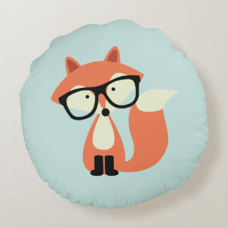 Hipster Red Fox Round Pillow
