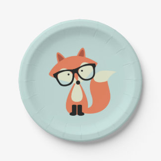 Hipster Red Fox 7 Inch Paper Plate