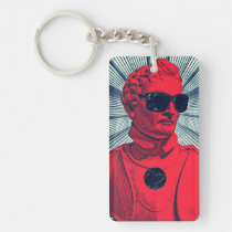 hipster, red, statue, cool, fashion, funny, vintage, 80s, party, humor, original, keychain, [[missing key: type_aif_keychai]] with custom graphic design