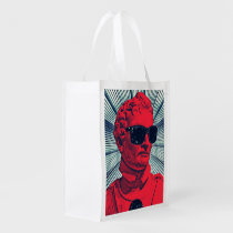 hipster, red, statue, cool, funny, boho, fashion, vintage, geek, humor, summer, hype, lifestyle, party, original, reusable, bag, [[missing key: type_reusableba]] with custom graphic design