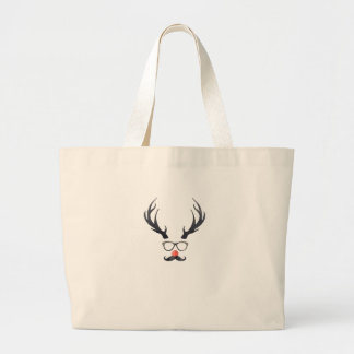 Hipster Reindeer Christmas Holidays Large Tote Bag