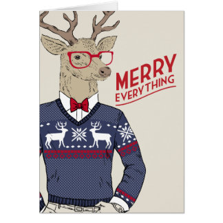 Hipster Reindeer Ugly Sweater Merry Everything Card