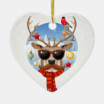 Hipster Reindeer Winter Holiday Edition Ceramic Ornament