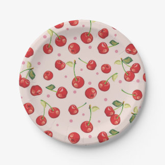 Hipster,retro,cherry,pattern,red,pink,pale,cute, Paper Plate