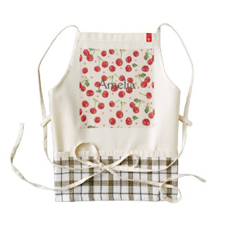 Hipster,retro,cherry,pattern,red,pink,pale,cute, Zazzle HEART Apron