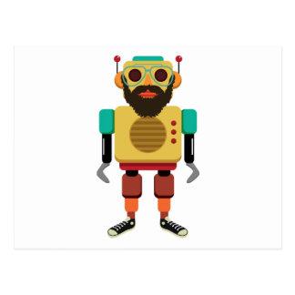 Hipster Retro Robot Postcard
