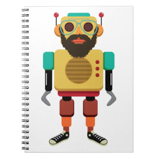 Hipster retro running robot spiral notebook