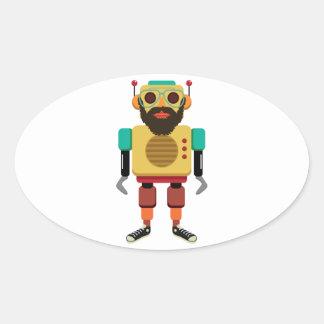 Hipster retro running robot oval sticker
