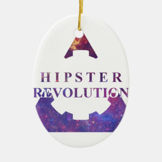 Hipster Revolution GEAR Double-Sided Oval Ceramic Christmas Ornament