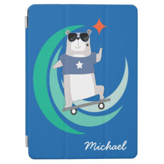 Hipster Riding a Skateboard Monogrammed iPad Air Cover