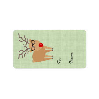 Hipster Rudolph Reindeer Christmas Gift Tag Address Label