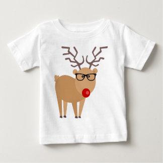 Hipster Rudolph Reindeer Cute Holiday Art Baby T-Shirt