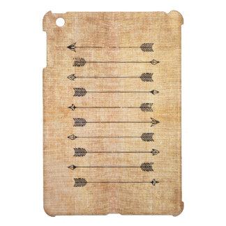 Hipster rustic linen arrows iPad mini case