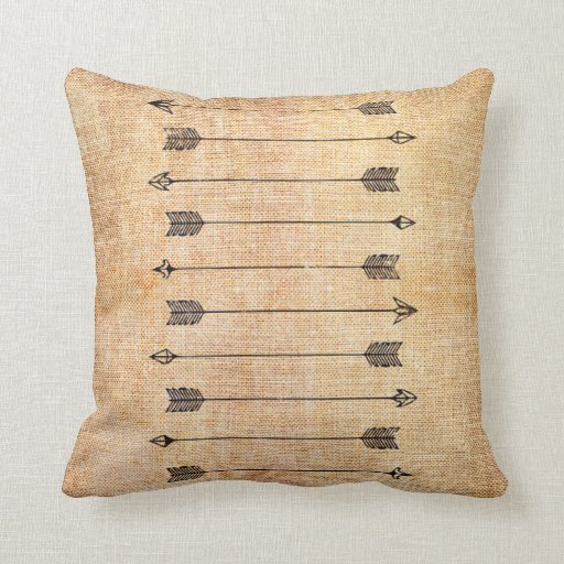 Throw Pillows Hipster : Hipster rustic linen arrows throw pillow Zazzle