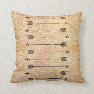 Hipster rustic linen arrows throw pillow