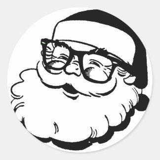 hipster santa classic round sticker