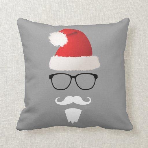 Throw Pillows Hipster : Hipster Santa Claus Throw Pillows Zazzle