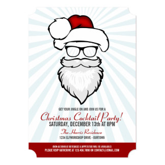 Hipster Santa Cocktail Party Invitations
