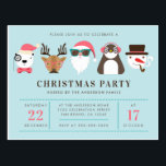 "Hipster Santa & Friends Christmas Party Invitation Postcard<br><div class=""desc"">Hipster Santa & Friends Christmas Party Invitations by Yule4Yall.</div>"