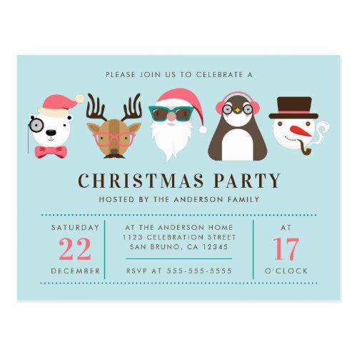 Hipster Santa  Friends Christmas Party Invitation Postcard