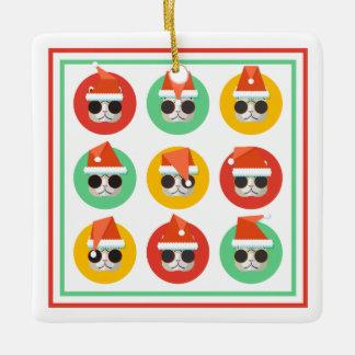 Hipster Santa Kitties Ceramic Ornament