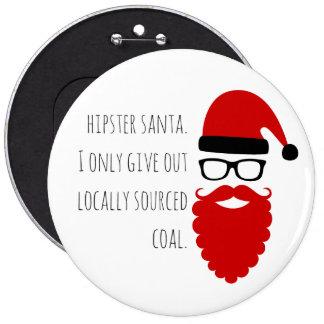 Hipster Santa- Locally Sourced Coal 6 inch button