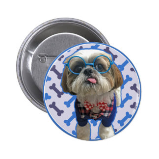 Hipster Shih Tzu Button / Badge