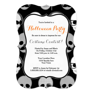 Hipster Skulls Halloween Party Invitation