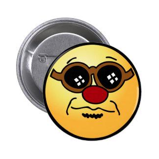 Hipster Smiley Face Grumpey Button