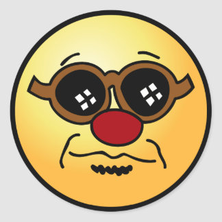 Hipster Smiley Face Grumpey Classic Round Sticker