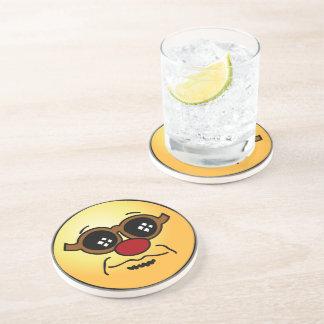 Hipster Smiley Face Grumpey Drink Coaster