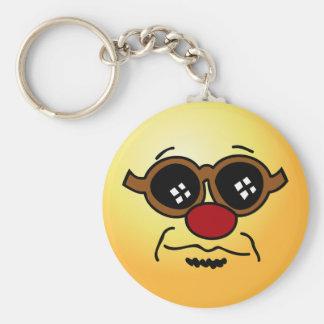 Hipster Smiley Face Grumpey Keychain