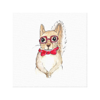 Hipster Squirrel Watercolor Art Canvas Print