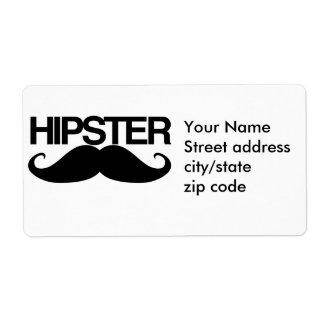 Hipster Stache Label