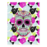 Hipster Sugar Skull and Floral Roses Post Cards