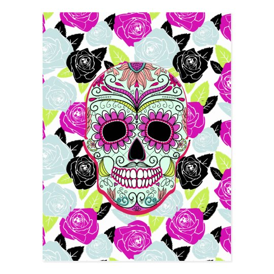 Hipster Sugar Skull and Floral Roses Postcard