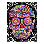 Hipster Sugar Skull Art Postcard