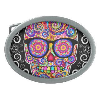 Hipster Sugar Skull Belt Buckle - Day of the Dead