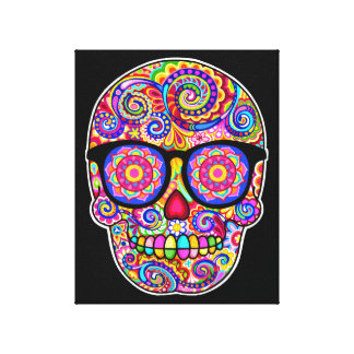 Hipster Sugar Skull Stretched Canvas Print