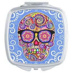 Hipster Sugar Skull Compact Mirror